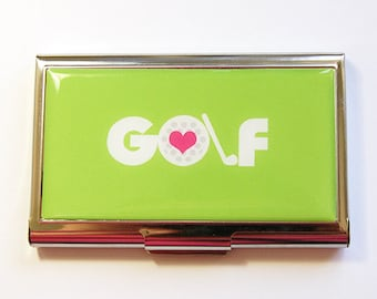 Business card holder, Business Card Case, Cute Card case, Golf tournament Prize, Card case for her, Golfer, Golf Lover, Gift for her (4332)