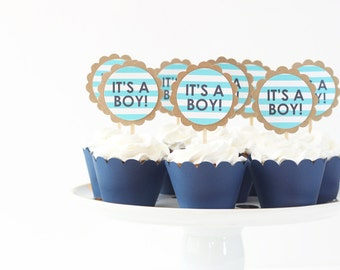 Its a Boy Cupcake Toppers Boy Baby Shower Cupcake Topper Navy Blue Party Supplies Gender Reveal Party Cake Topper Its a Boy Sign / Set of 12