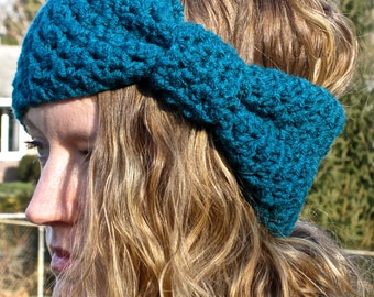 2 PATTERNS:  Bow Ear Warmer & Bobble Band, head band, ski band, giant bow, easy crochet pattern, InsTanT DowNLoaD, Permission to Sell