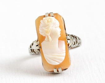 Vintage Cameo Ring - Rectangular Antique Size 5 1/4 Art Deco 14k White Gold Filigree - Carved Shell Fine Female Silhouette Flower Jewelry