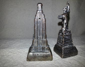 Vintage Copper Colored Metal Empire State Building and Statue of Liberty Salt & Pepper Shakers