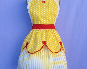 BELLE apron retro apron womens full costume aprons in pretty yellow and red roses