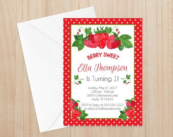 Strawberry First  Birthday Invitation, Strawberry First Birthday, Strawberry Themed, Girl's Birthday Invite, Strawberry Birthday Party