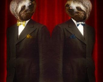 Sloth Art Sloth Art Print Birthday Animal Photography Weird Art Mixed Media Anthropomorphic Geekery Print - Legendary Sloth Brothers