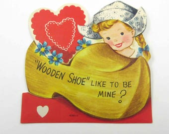 Vintage Children's Novelty Valentine Card with Cute Dutch Girl and Large Wooden Shoe with Blue Flowers and Heart by Whitman