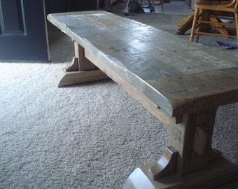 Rustic Distressed Pedestal Bench