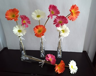 Rustic vase decor with gerbera SET 4 vase with summer flowers