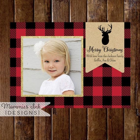 items similar to gold glitter and buffalo plaid photo christmas card