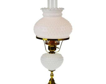 Mid Century Hobnail Milk Glass Table Lamp with Marble Base