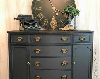 SOLD***  Vintage Buffet Painted Dark Grey with Dark Stained Top