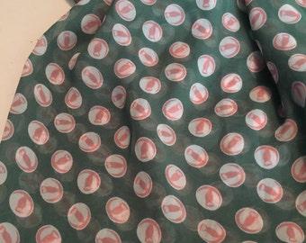 Chiffon Fabric Print 2 -1/2 Yards Owl Pattern