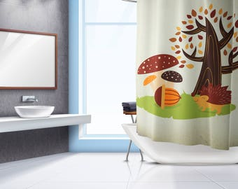 Hedgehog Shower Curtain - Shower Curtain - Shower Curtain Design - Bath Curtain - Bathroom Decor - Bathroom Curtain - Nursery Decor - Kids