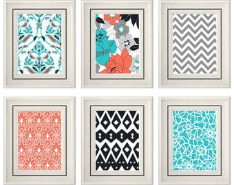 Set of Six Modern/Vintage Coral/Turquoise Wall Art - Print Set - Home Decor- Gift (Unframed)