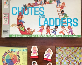 Vintage 1974 Chutes and Ladders Milton Bradley Board Game -Complete