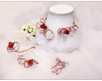 Necklace red and white bridal headpiece