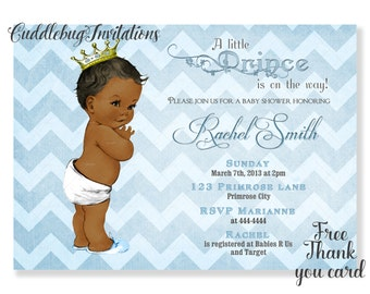 Blue African American Boy Baby Shower Invitation | Little Prince Baby Boy Shower Invite | Royal Baby Shower Invitation Printable