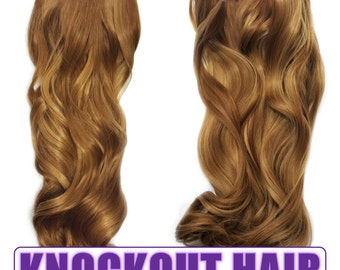 """Fits like a Halo Hair Extensions 20"""" - 150 Grams 100% Premium Fiber Wavy Hair (French Cognac/Dark Golden Blonde Mix - #27R/27HY)"""