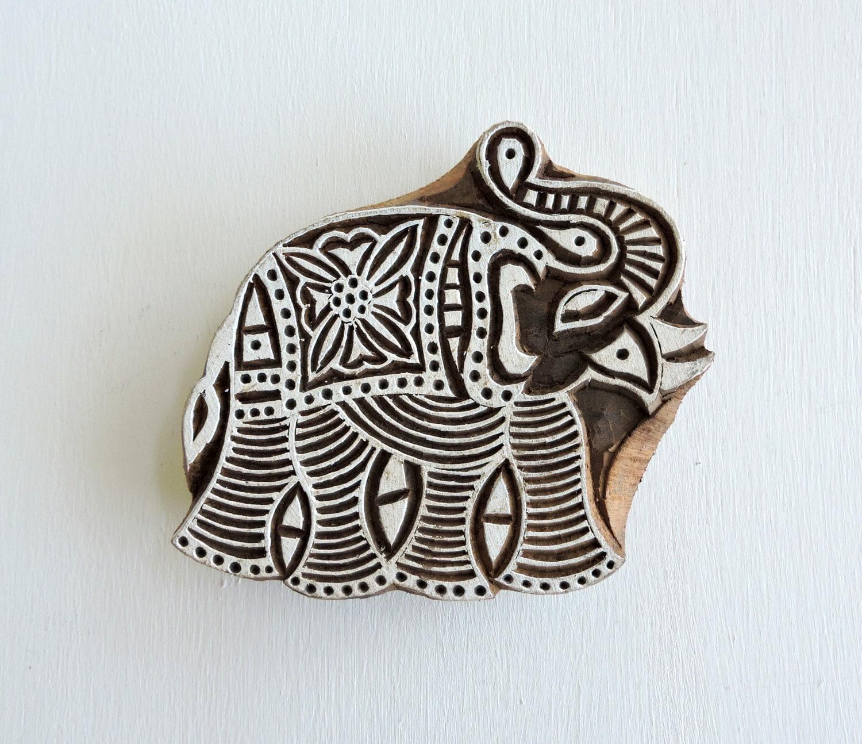 Indian elephant stamp hand carved wood stamp printing block sold by delhidaze buycottarizona Images