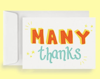 Many Thanks Note Card (10 Cards + Envelopes)