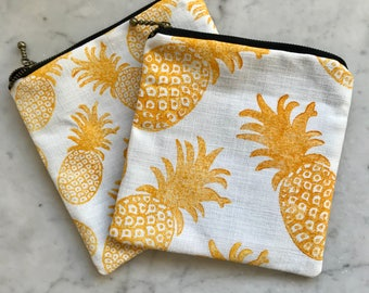 Hand Printed & Hand Sewn Little Zipper Purse with Pineapple Motif- ideal stocking filler, party bag filler or birthday gift