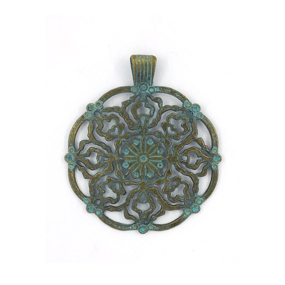 """Great find charms - blue """"rosette"""""""