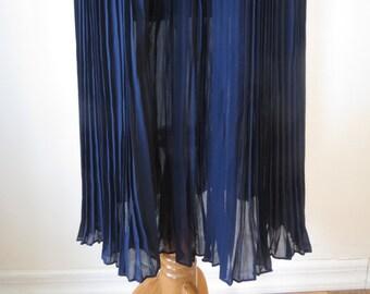 Fine Long Chiffon Pleated Skirt Dark Blue Color