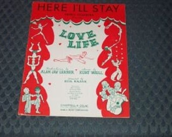 Vintage Sheet Music-Here I'll Stay-1948