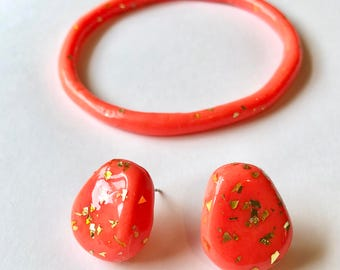 Day glo earrings and bangle