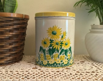 Vintage yellow floral daisy tin