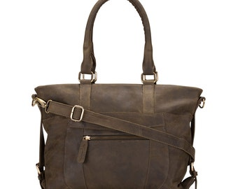 Leather Zip Pocket Purse Bag distressed leather, Olive Green