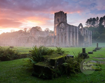 Ancient Abbey Ruins at Sunset. Misty UK Landscape Architecture Photography Print.