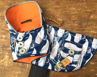 Dog Rain Slicker, dog raincoat, Fun whale print laminated cotton, Medium dog coat, Dog girl dog coat, reflective, Sublimebirdy