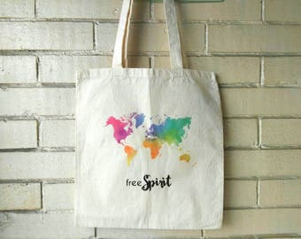 Free spirit tote etsy free spirit bag rainbow world map map watercolor world map bag cotton canvas gumiabroncs Choice Image