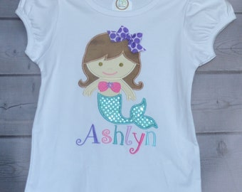 Personalized Mermaid Applique Shirt or Bodysuit Girl
