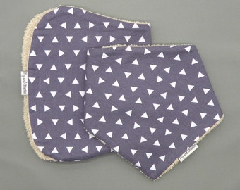 Gift Set - Bandana Dribble Bib and Burp Cloth - Tossed Triangles Grey