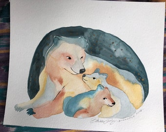 Mother Bear original watercolor painting by Bunny Dee