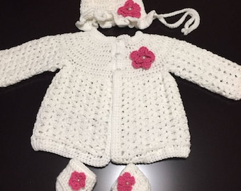 Crochet Baby Cardigan with hat and booties