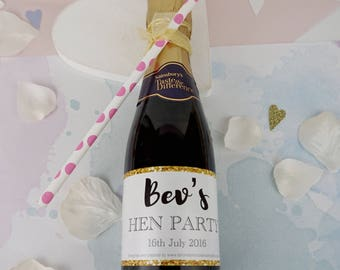 10 Hen Party Mini Prosecco Labels - hen party favours - hen party favors - hen party gifts -bachelorette - prosecco labels - champagne