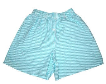 Vintage Blue Striped Boxer Shorts with Pockets Sleepwear Size Small