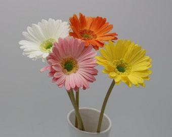 Real Touch Gerbera Daisy Artificial Flowers Long Stem Gerbera Daisies For Wedding Bridal Bouquets Table Centerpieces Arrangement