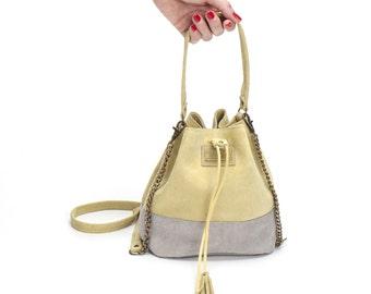 Small Bucket bag, Drawstring bag, Mini Leather bag, Small Sac bag, Leather shoulder bag, Sale!