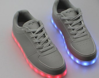 Light Up LED Shoes - Stone Grey -  Burning Man, Halloween, Rave Shoes, Dance Shoes, Party Shoes