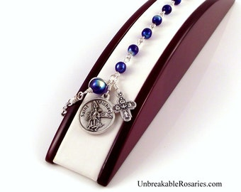 St Michael Police Badge Rosary Bracelet AB Cobalt Blue Czech Glass by Unbreakable Rosaries