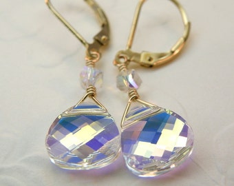 Teardrop Swarovski Crystal Earrings, Bride Wedding, Gold Filled, Dangle Bridesmaid, Handmade Bridal Jewelry Moonstone Color, Color Options