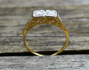 Edwardian Antique 18k Yellow Gold and Platinum .44ct Round European Cut Diamond Engagement Ring