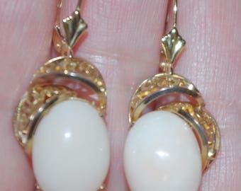 Vintage 14K Filigree Carved Large Angel Skin Blush Coral lever Back Earrings AAA
