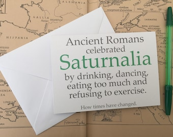 Saturnalia Roman Mythology Christmas Card | Secret Santa Stocking Filler Present | Percy Jackson SPQR | Gift for History, Classics Student