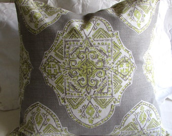 24x24 MALTA SPRING gray green large PILLOW cover