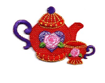 Red Hat Society - Tea - Rose - Embroidered Tea Pot & Tea Cup - Iron On Applique Patch