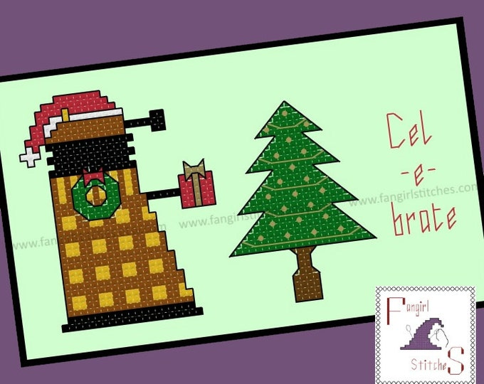 Doctor Who inspired Dalek Christmas Cross Stitch Card - PDF Pattern - INSTANT Download